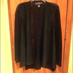 Peck & Peck faux suede and mesh black blazer